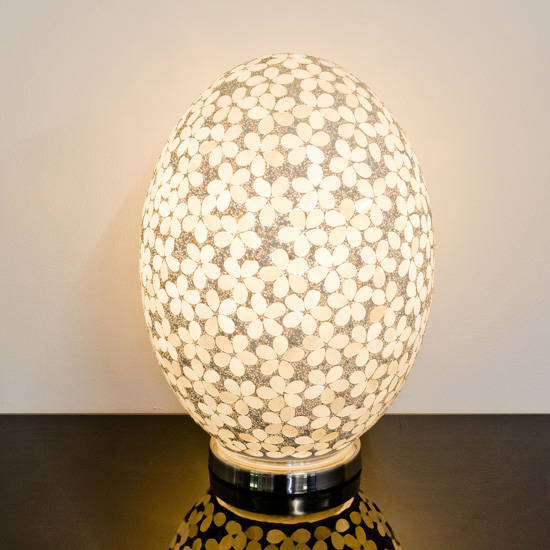 Izar Large Opaque Flower Design Mosaic Glass Egg Table Lamp