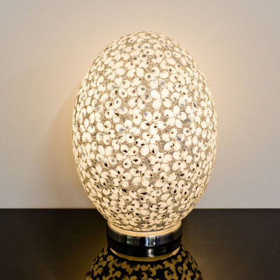Izar Large White Flower Design Mosaic Glass Egg Table Lamp
