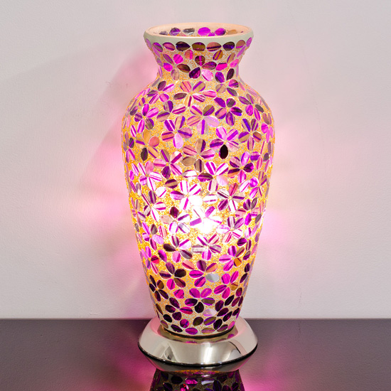 Izar Medium Magenta Flower Design Mosaic Glass Vase Table Lamp