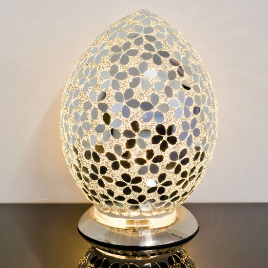 Izar Medium Mirrored Flower Design Mosaic Glass Egg Table Lamp