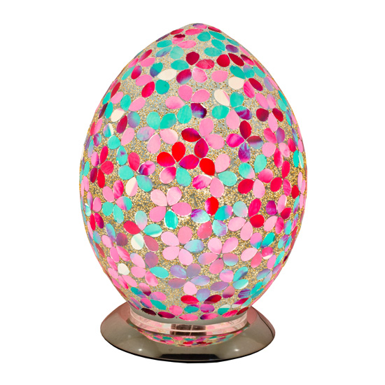 Izar Medium Pink Flower Egg Design Mosaic Glass Table Lamp_2