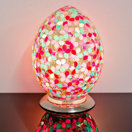 Izar Medium Pink Flower Egg Design Mosaic Glass Table Lamp_1