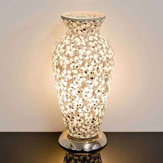 Izar Medium White Flower Design Mosaic Glass Vase Table Lamp