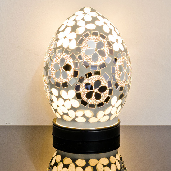 Izar Small Art Deco Flower Egg Design Mosaic Glass Table Lamp