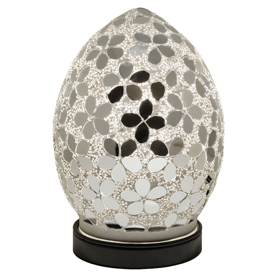 Izar Small Mirrored Flower Design Mosaic Glass Egg Table Lamp_2