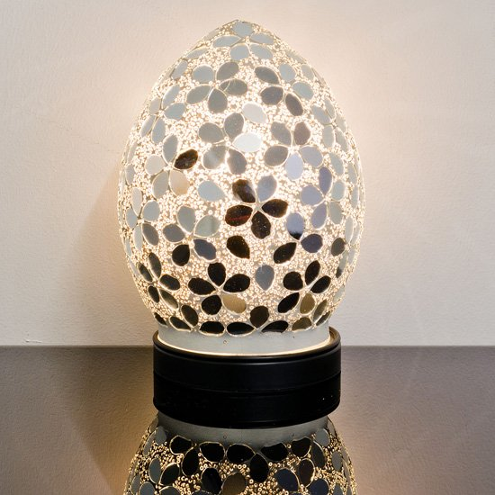 Izar Small Mirrored Flower Design Mosaic Glass Egg Table Lamp_1