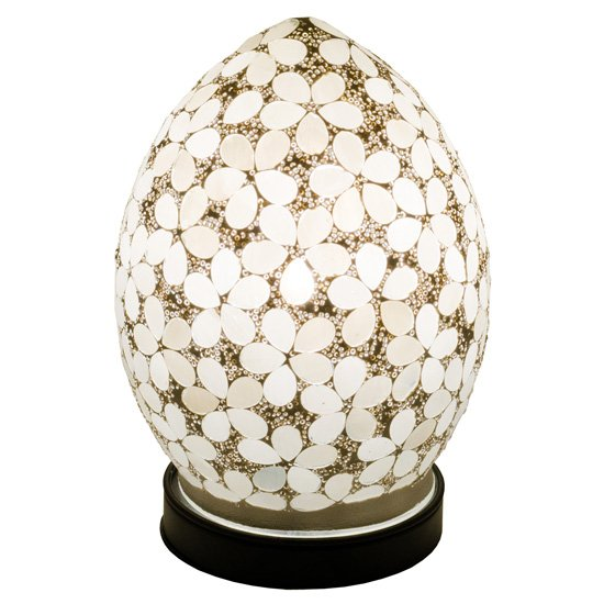 Izar Small Opaque Flower Design Mosaic Glass Egg Table Lamp_2