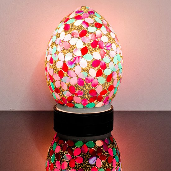 Izar Small Pink Flower Egg Design Mosaic Glass Table Lamp