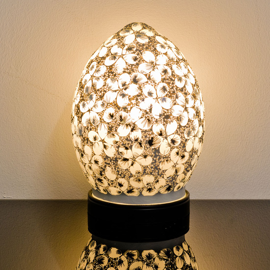 Izar Small White Flower Design Mosaic Glass Egg Table Lamp