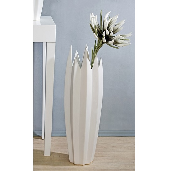 Zack Floor Vase In Matt White Ceramic