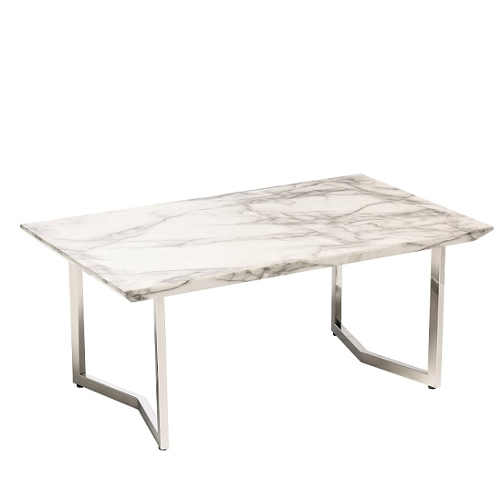 Jackson Coffee Table In High Gloss White Marble Finish