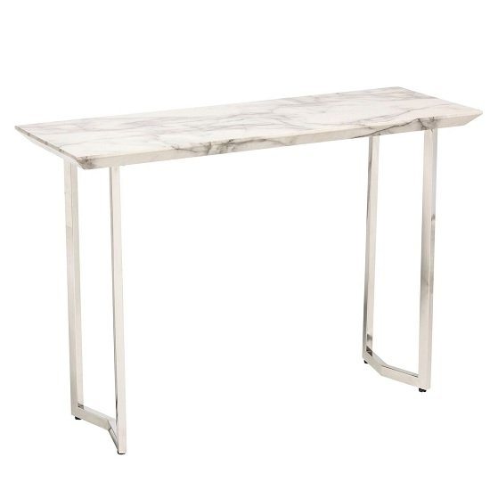 Jackson Console Table In High Gloss White Marble Finish