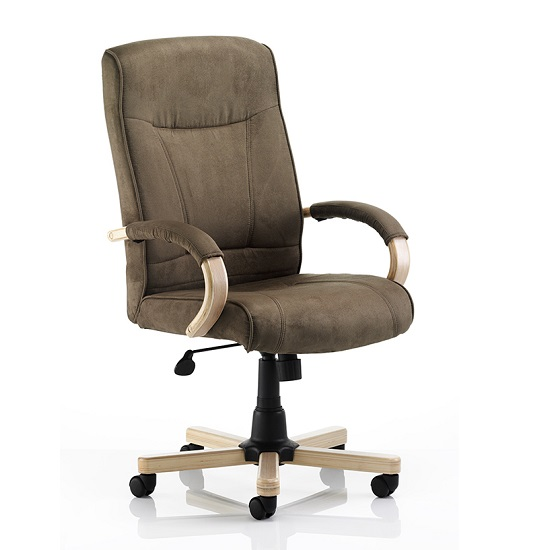 Jackson Executive Chair In Brown Suede Effect With Arms
