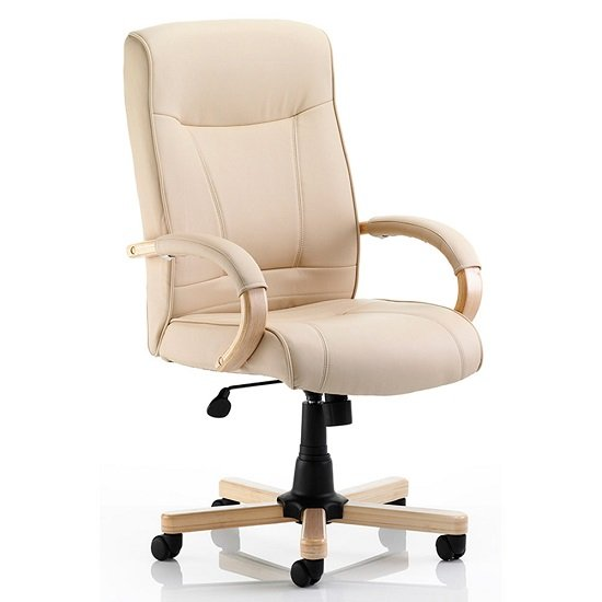 Jackson executive chair in cream bonded leather with arms for Cream office chair