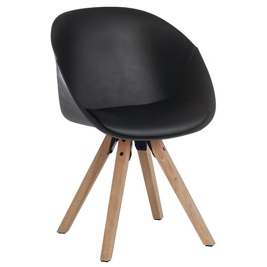 Jaclyn Visitor Chair In Black PU With Wooden Legs