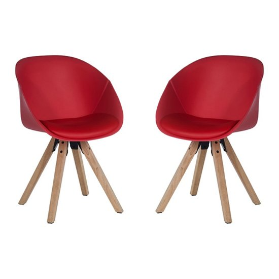 Jaclyn Red PU Visitor Chair With Wooden Legs In Pair_1