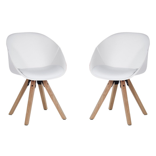 Jaclyn White PU Visitor Chair In Pair With Wooden Legs