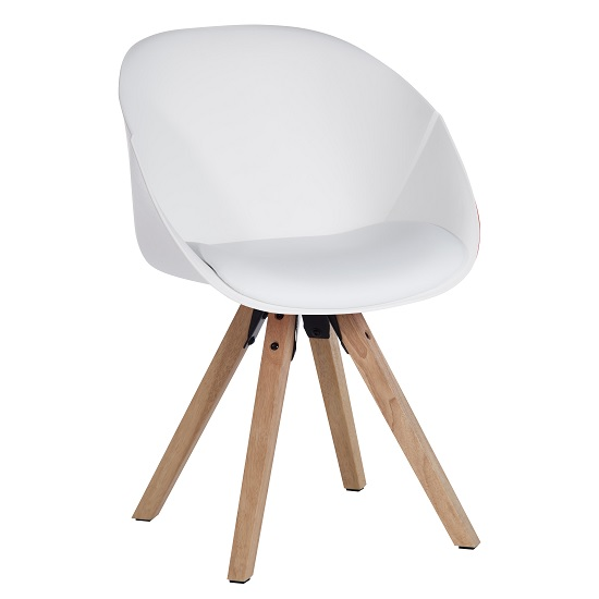 Jaclyn Visitor Chair In White PU With Wooden Legs