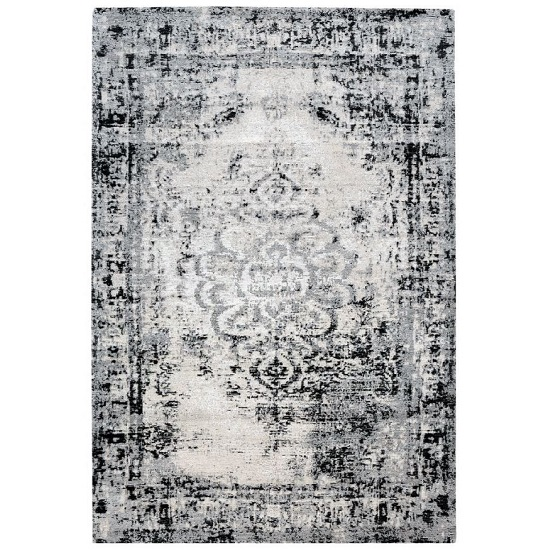 Jacquard Woven Grey And Black Rug