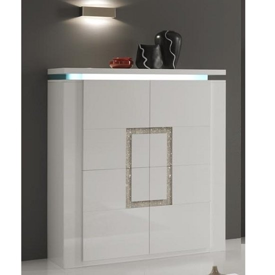 Garde Sideboard In White Gloss With Diamante And LED Lights_1