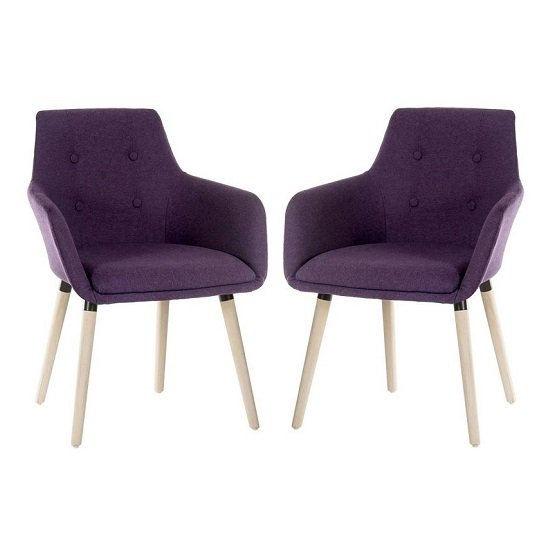 Jaime Fabric Reception Chair In Plum With Wood Legs In Pair