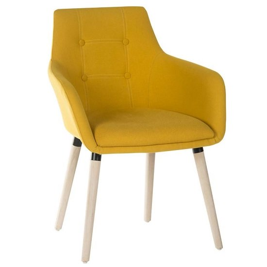 Jaime Fabric Reception Chair In Yellow With Wooden Legs