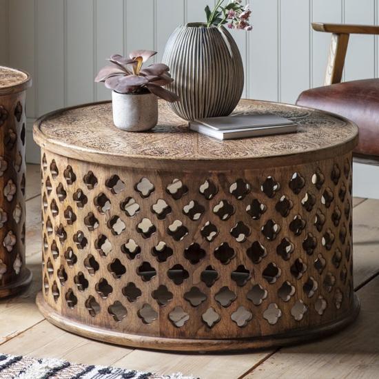 View Jaisko round wooden coffee table in natural
