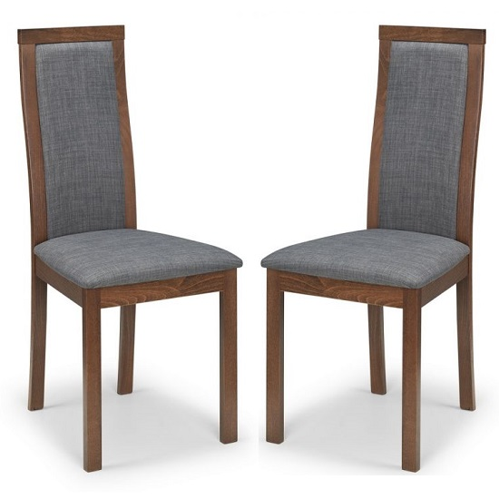 Jakey Dining Chairs In Walnut With Grey Linen Fabric In A Pair