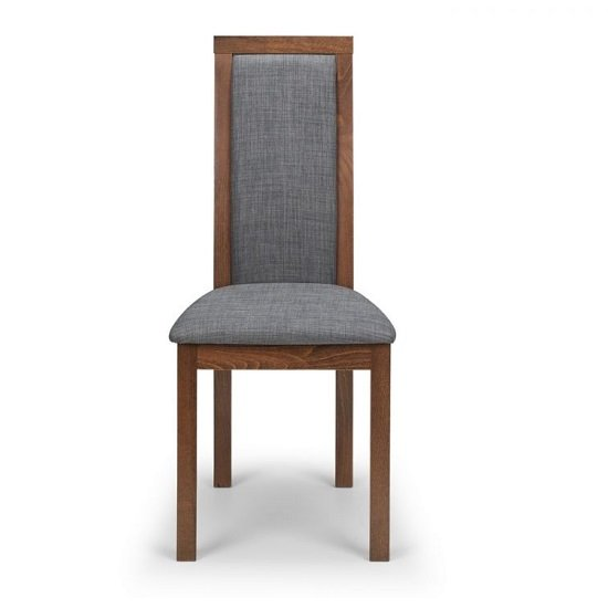 Jakey Dining Chairs In Walnut With Grey Linen Fabric In A Pair_2
