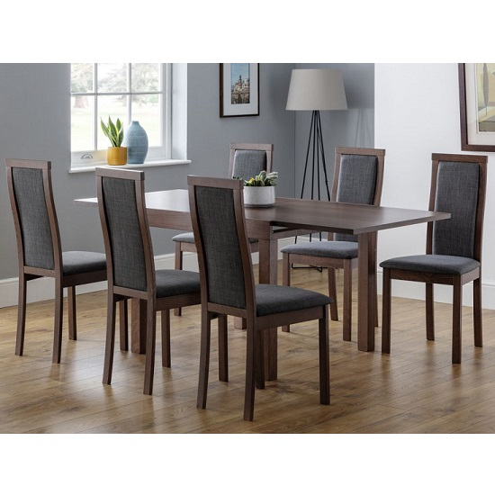 Jakey Extending Dining Table In Walnut With Six Dining ...