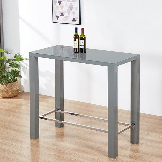 Jam Glass Bar Table Rectangular In Grey High Gloss