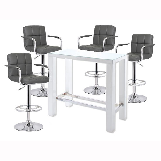 Jam Gl Bar Table In White Gloss And 4 Glenn Grey Stools