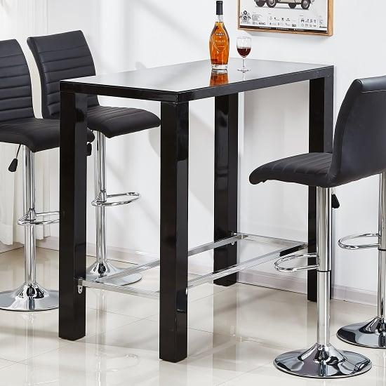 Jam Glass High Bar Table Rectangular In Black High Gloss