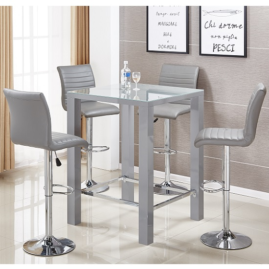 Jam Glass Bar Table Set Square In Grey Gloss And 4 Ripple