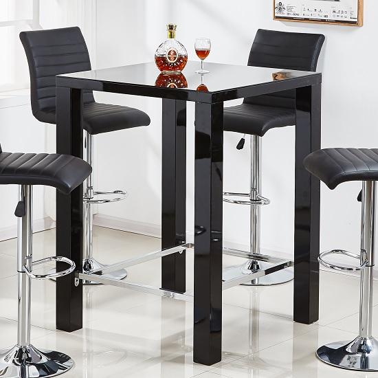 Jam Modern Glass Bar Table Square In Black High Gloss 31451