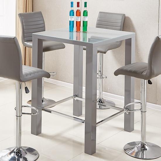 Jam Modern Glass Bar Table Square In Grey High Gloss 31452