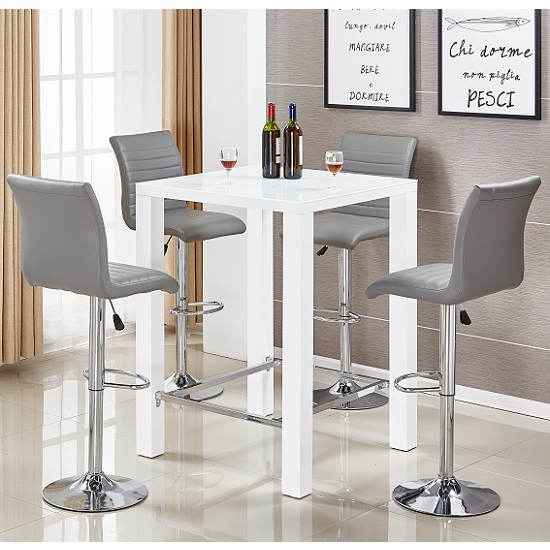 Jam Glass Bar Table Set In White Gloss 4 Ripple Grey Stools