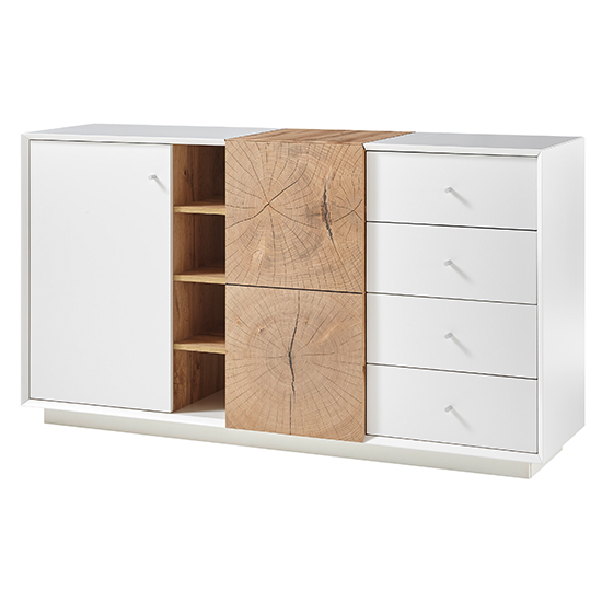 Jamaika Sideboard In Matt White And Oak With 2 Doors 4 Drawers