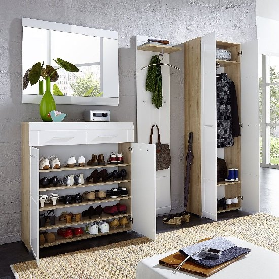 James Shoe Cabinet In Noble Beech and High Gloss White Fronts_5