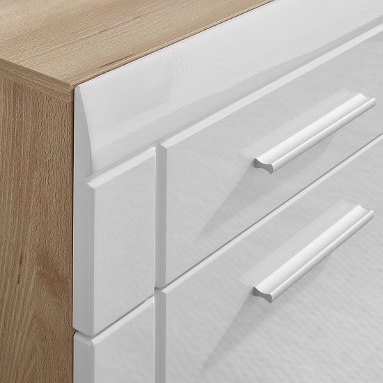 James Shoe Cabinet In Noble Beech and High Gloss White Fronts_4