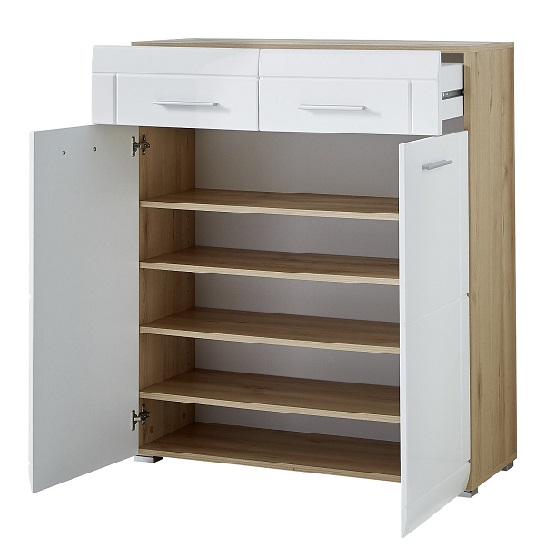 James Shoe Cabinet In Noble Beech and High Gloss White Fronts_2