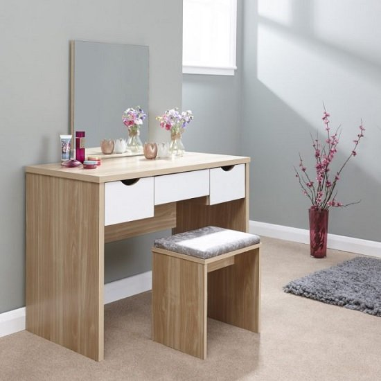 Jamestown Wooden Dressing Table Set In Oak And White
