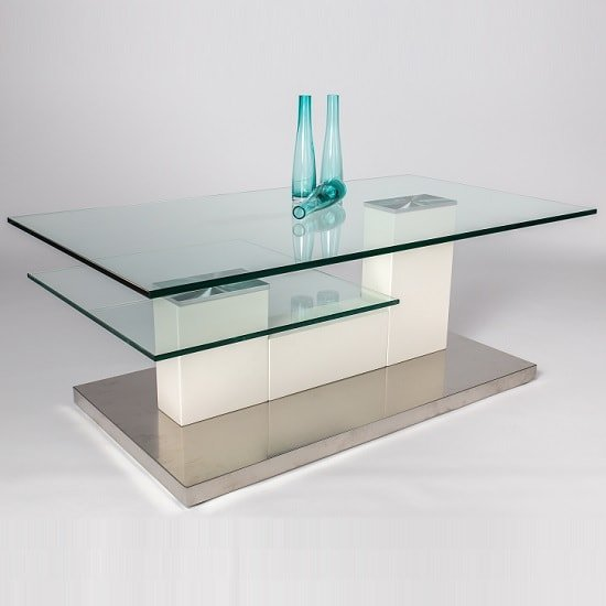 Jamie Glass Coffee Table In White With Stainless Steel Base