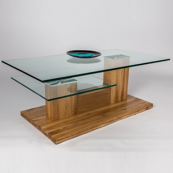 Jamie Glass Coffee Table Rectangular In Wild Oak