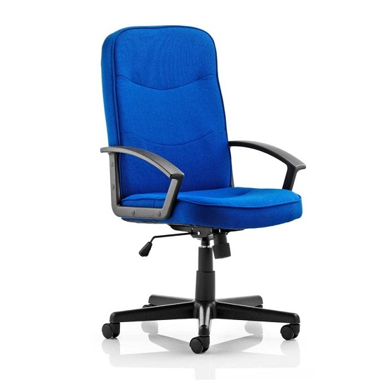 Janelle Fabric Office Chair In Blue With Padded Seat