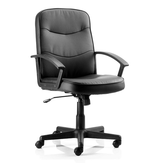 Janelle Bonded Leather Office Chair In Blue With Padded Seat