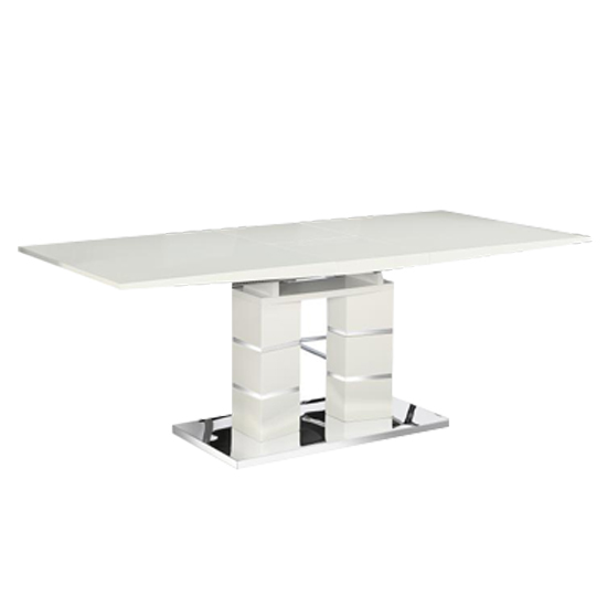 Janelle Wooden Extending Dining Table In White High Gloss