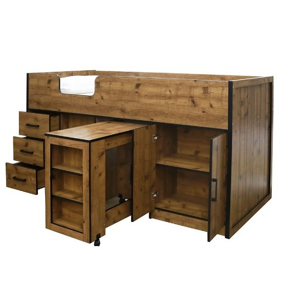 Janessa Wooden Mid Sleeper Bed In Vintage Oak With Black Frame