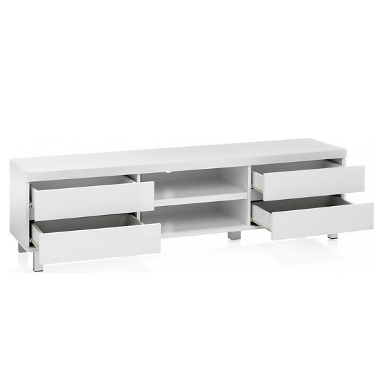Janny Wooden TV Stand In Matt White With Silver Legs_2