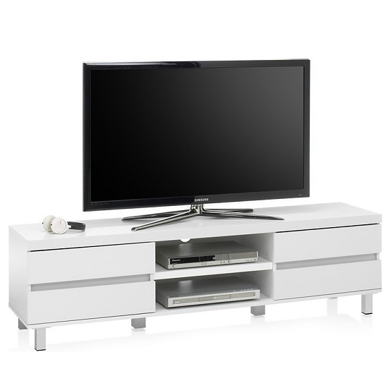 Janny Wooden TV Stand In Matt White With Silver Legs_3